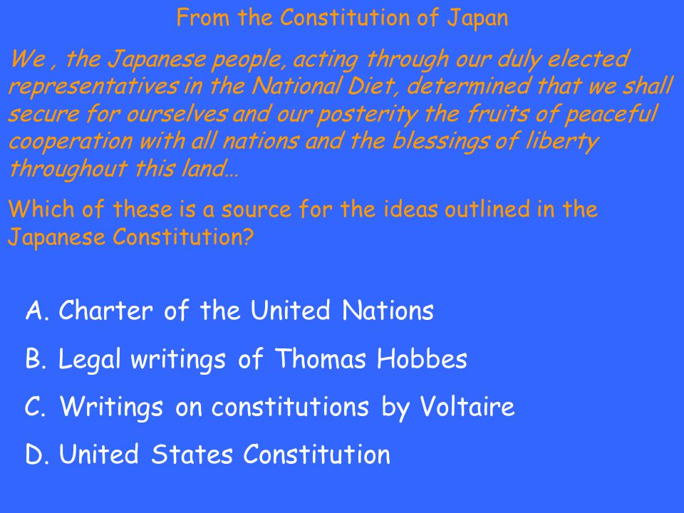 From the Constitution of Japan We, the Japanese people, acting through our duly elected representatives in the National Diet, determined that we shall