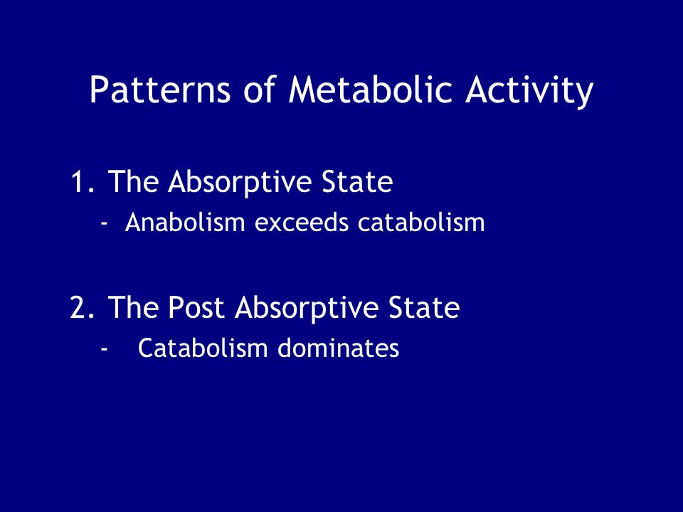 Patterns of Metabolic Activity 1.The Absorptive State - Anabolism exceeds catabolism 2.The Post Absorptive State -Catabolism dominates