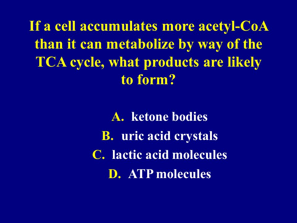 If a cell accumulates more acetyl-CoA than it can metabolize by way of the TCA cycle, what products are likely to form? A.ketone bodies B.uric acid cr