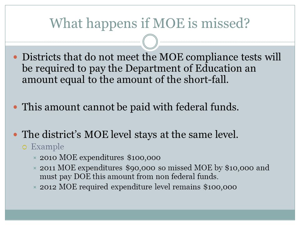 What happens if MOE is missed? Districts that do not meet the MOE compliance tests will be required to pay the Department of Education an amount equal