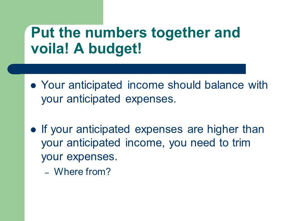 Put the numbers together and voila! A budget! Your anticipated income should balance with your anticipated expenses. If your anticipated expenses are