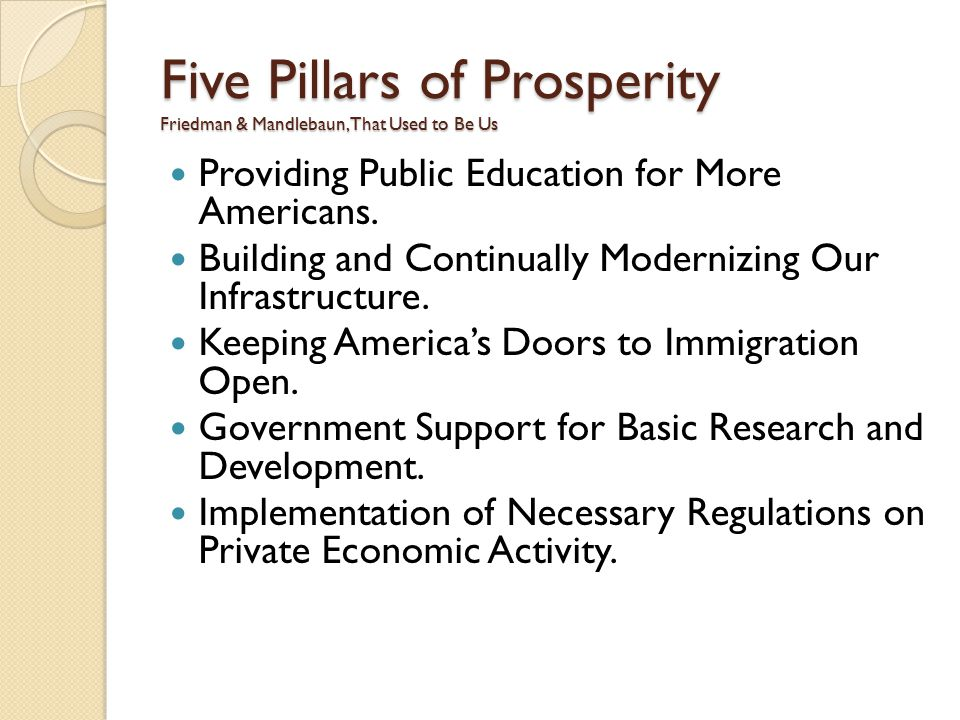 Five Pillars of Prosperity Friedman & Mandlebaun, That Used to Be Us Providing Public Education for More Americans.