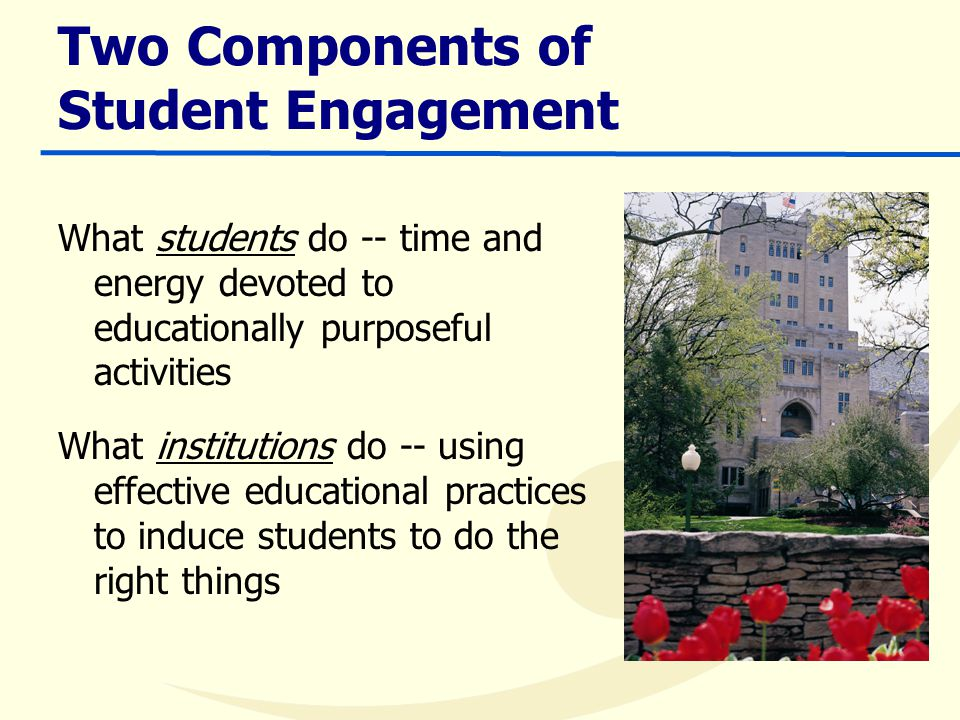 Two Components of Student Engagement What students do -- time and energy devoted to educationally purposeful activities What institutions do -- using effective educational practices to induce students to do the right things