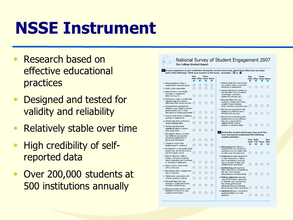 NSSE Instrument  Research based on effective educational practices  Designed and tested for validity and reliability  Relatively stable over time  High credibility of self- reported data  Over 200,000 students at 500 institutions annually