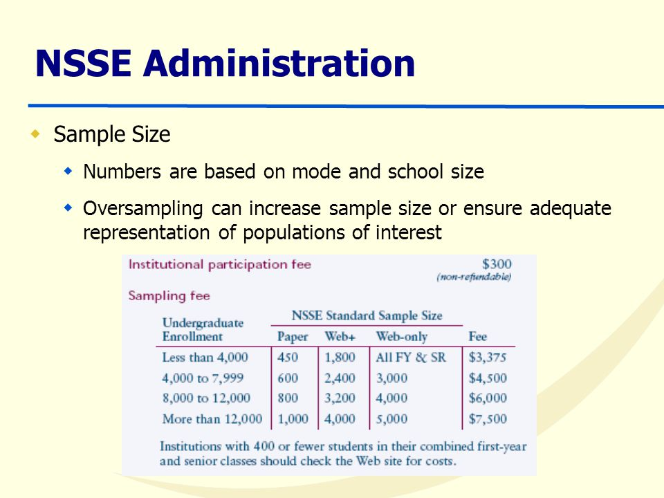 NSSE Administration  Sample Size  Numbers are based on mode and school size  Oversampling can increase sample size or ensure adequate representation of populations of interest