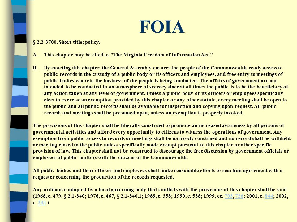 FOIA § 2.2-3700.Short title; policy.