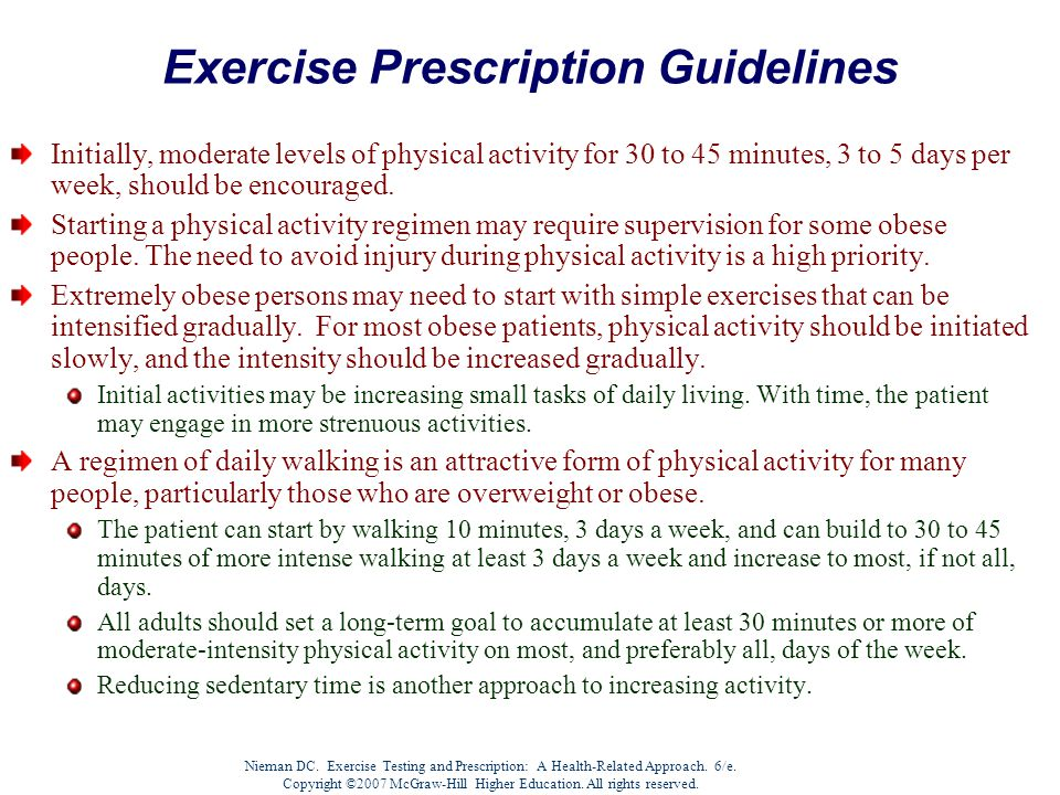 Nieman DC. Exercise Testing and Prescription: A Health-Related Approach.