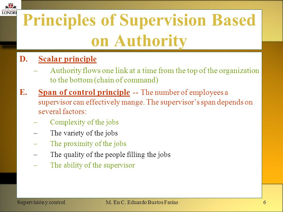 Supervisión y controlM. En C. Eduardo Bustos Farías6 Principles of Supervision Based on Authority D.Scalar principle –Authority flows one link at a ti