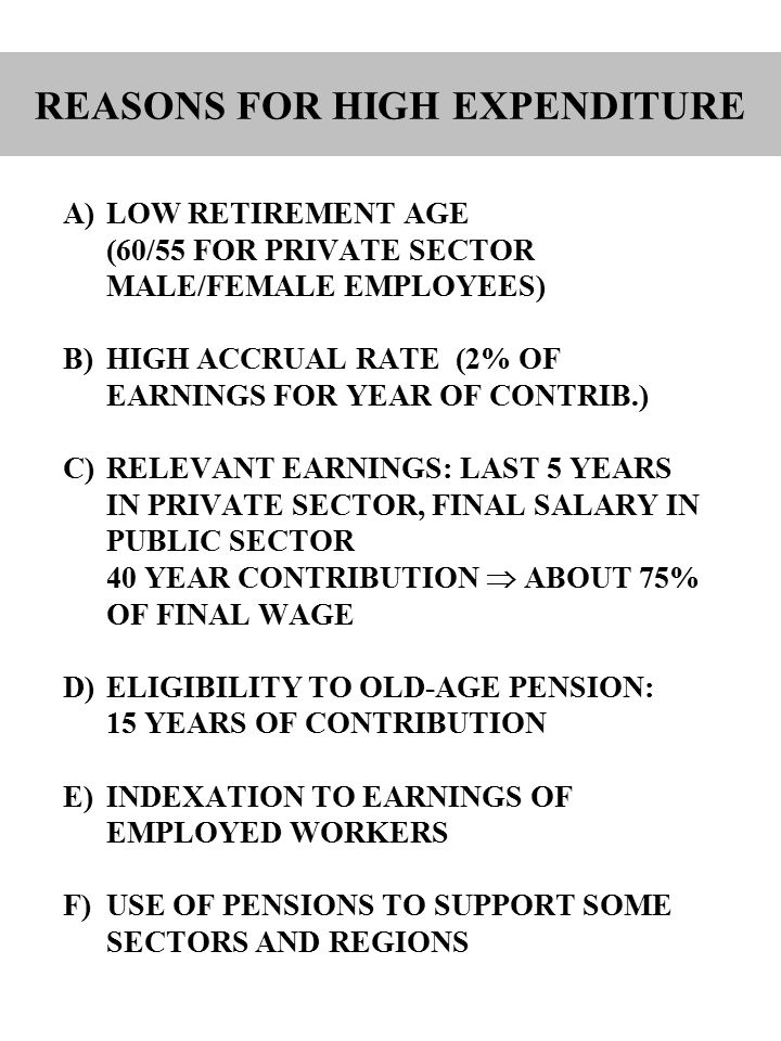 A)LOW RETIREMENT AGE (60/55 FOR PRIVATE SECTOR MALE/FEMALE EMPLOYEES) B)HIGH ACCRUAL RATE (2% OF EARNINGS FOR YEAR OF CONTRIB.) C)RELEVANT EARNINGS: LAST 5 YEARS IN PRIVATE SECTOR, FINAL SALARY IN PUBLIC SECTOR 40 YEAR CONTRIBUTION  ABOUT 75% OF FINAL WAGE D)ELIGIBILITY TO OLD-AGE PENSION: 15 YEARS OF CONTRIBUTION E)INDEXATION TO EARNINGS OF EMPLOYED WORKERS F)USE OF PENSIONS TO SUPPORT SOME SECTORS AND REGIONS REASONS FOR HIGH EXPENDITURE