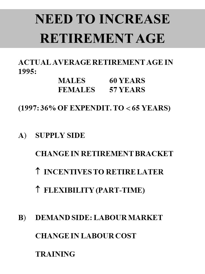ACTUAL AVERAGE RETIREMENT AGE IN 1995: MALES60 YEARS FEMALES57 YEARS (1997: 36% OF EXPENDIT.