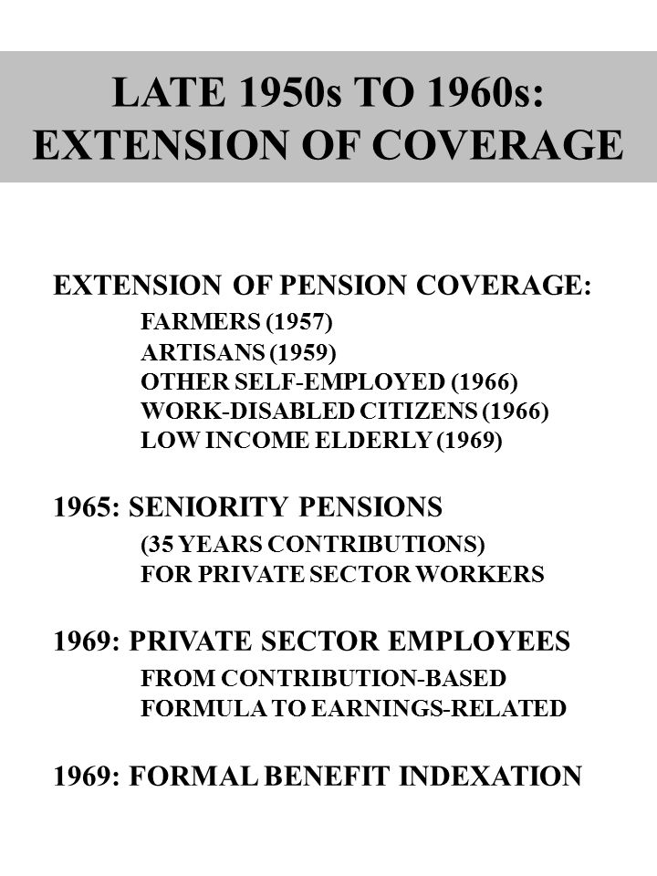 EXTENSION OF PENSION COVERAGE: FARMERS (1957) ARTISANS (1959) OTHER SELF ‑ EMPLOYED (1966) WORK ‑ DISABLED CITIZENS (1966) LOW INCOME ELDERLY (1969) 1965: SENIORITY PENSIONS (35 YEARS CONTRIBUTIONS) FOR PRIVATE SECTOR WORKERS 1969: PRIVATE SECTOR EMPLOYEES FROM CONTRIBUTION-BASED FORMULA TO EARNINGS-RELATED 1969: FORMAL BENEFIT INDEXATION LATE 1950s TO 1960s: EXTENSION OF COVERAGE