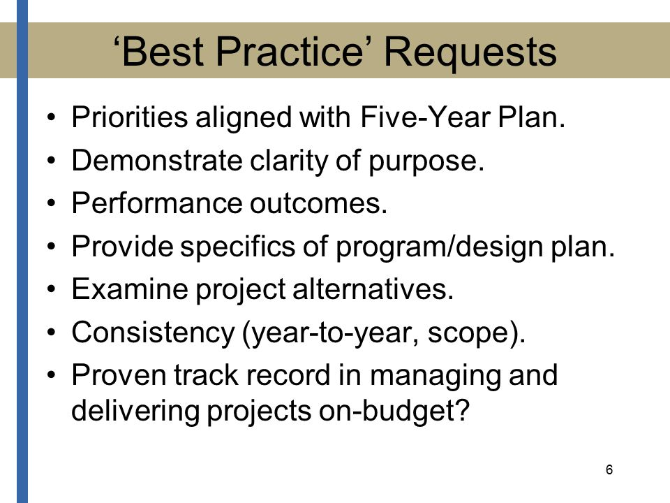 6 'Best Practice' Requests Priorities aligned with Five-Year Plan.