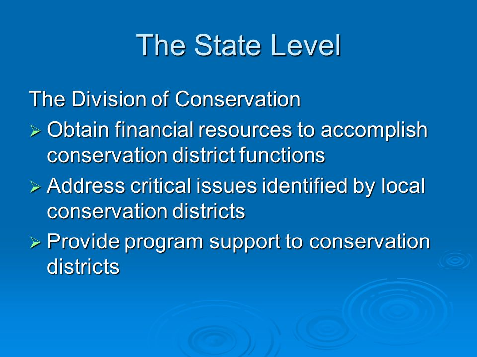 The State Level Soil and Water Conservation Commission  Can take any action it deems necessary to properly assist conservation districts in carrying out their functions, powers, duties, responsibilities and programs in accordance with KRS 262.
