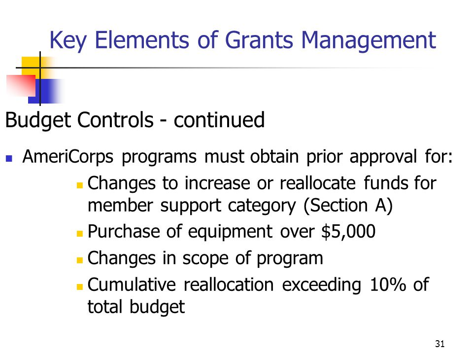 30 Key Elements of Grants Management Budget Controls - continued Budget changes requiring Corporation approval: Changes in scope, objectives or goals of program Substantial changes in level of participant supervision Additional sub-grants or contracts Line item changes greater than 10% of grant award (except for instances when corporation share is less than $100,000)