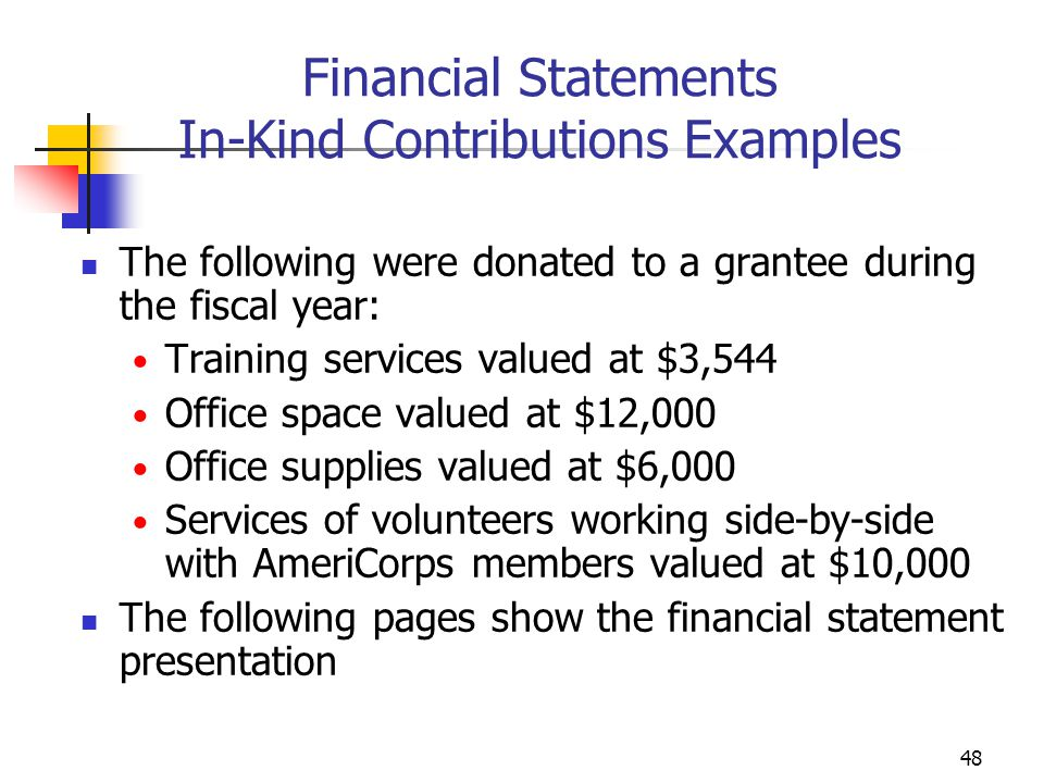 47 Recording and Reporting Match Received Match should be recorded in the accounting system (General Ledger) Match should be included in the Financial Status Report (FSR) In-kind contribution should be recorded as both a revenue and an expense (See example on following slide)