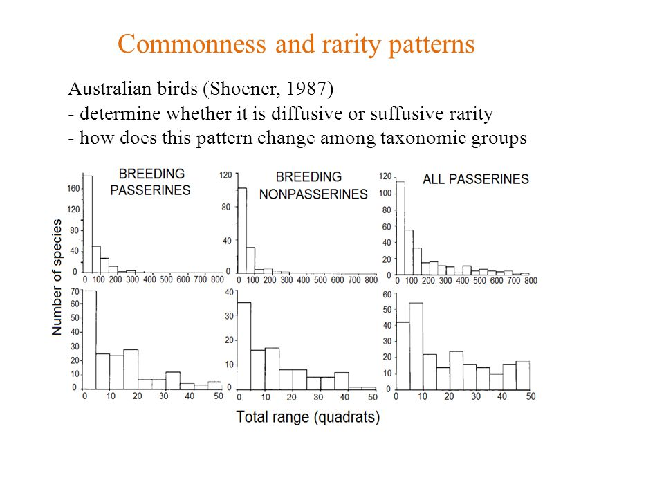 Australian birds (Shoener, 1987) - determine whether it is diffusive or suffusive rarity - how does this pattern change among taxonomic groups Commonness and rarity patterns
