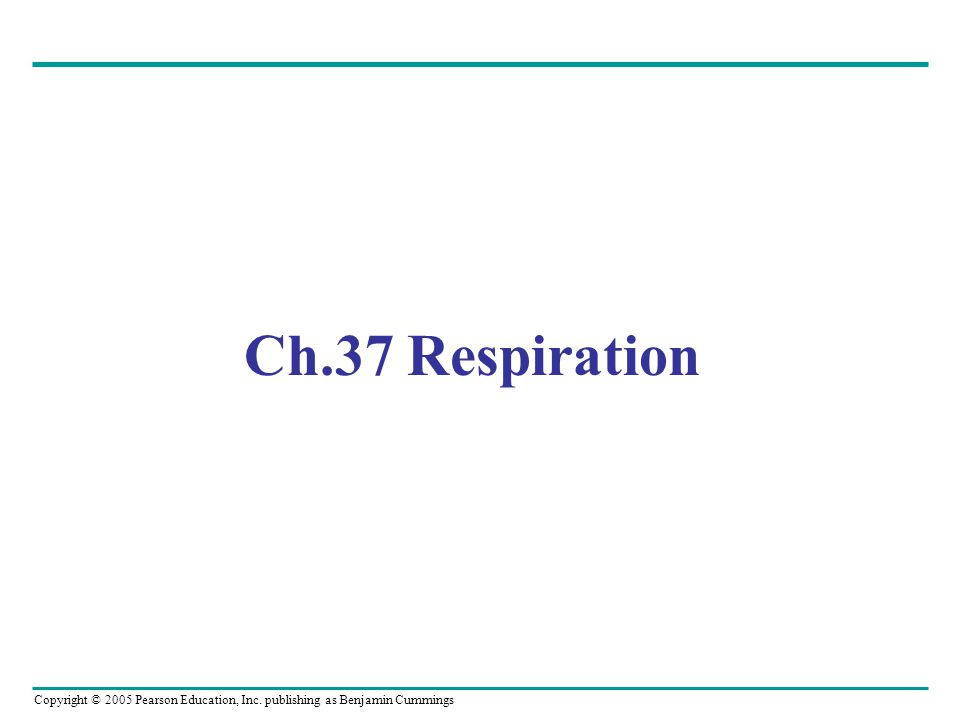 Copyright © 2005 Pearson Education, Inc. publishing as Benjamin Cummings Ch.37 Respiration