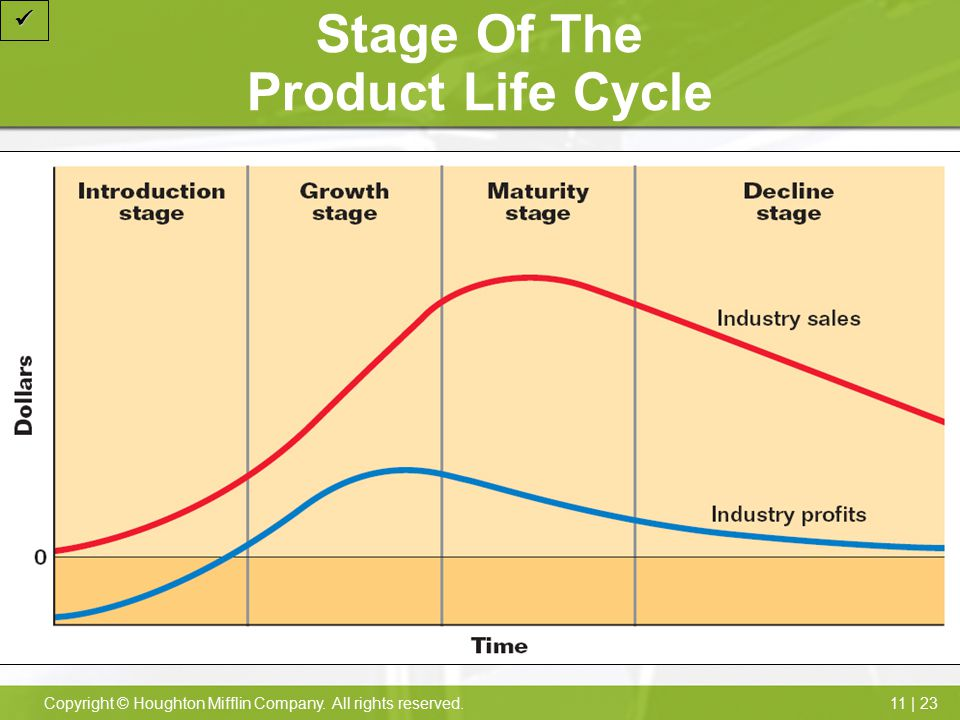 11 | 23Copyright © Houghton Mifflin Company. All rights reserved. Stage Of The Product Life Cycle