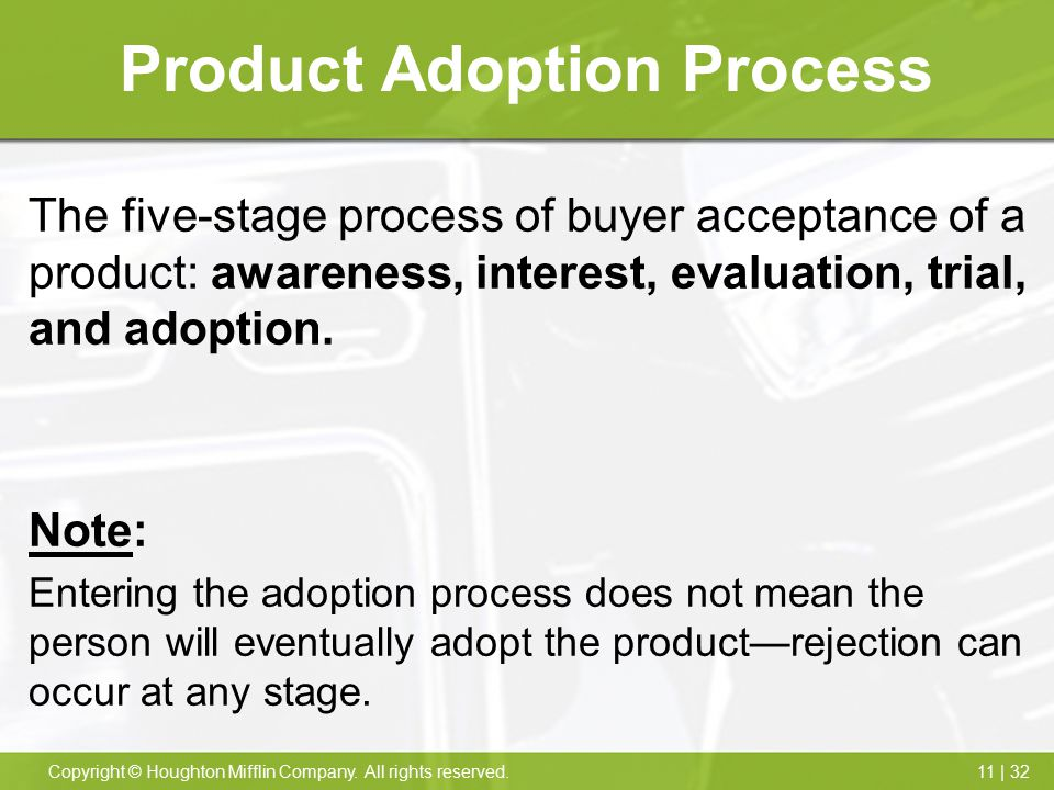 11 | 32Copyright © Houghton Mifflin Company. All rights reserved. Product Adoption Process The five-stage process of buyer acceptance of a product: aw