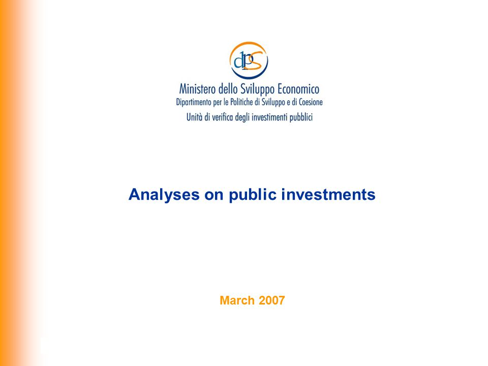 Analyses on public investments March 2007
