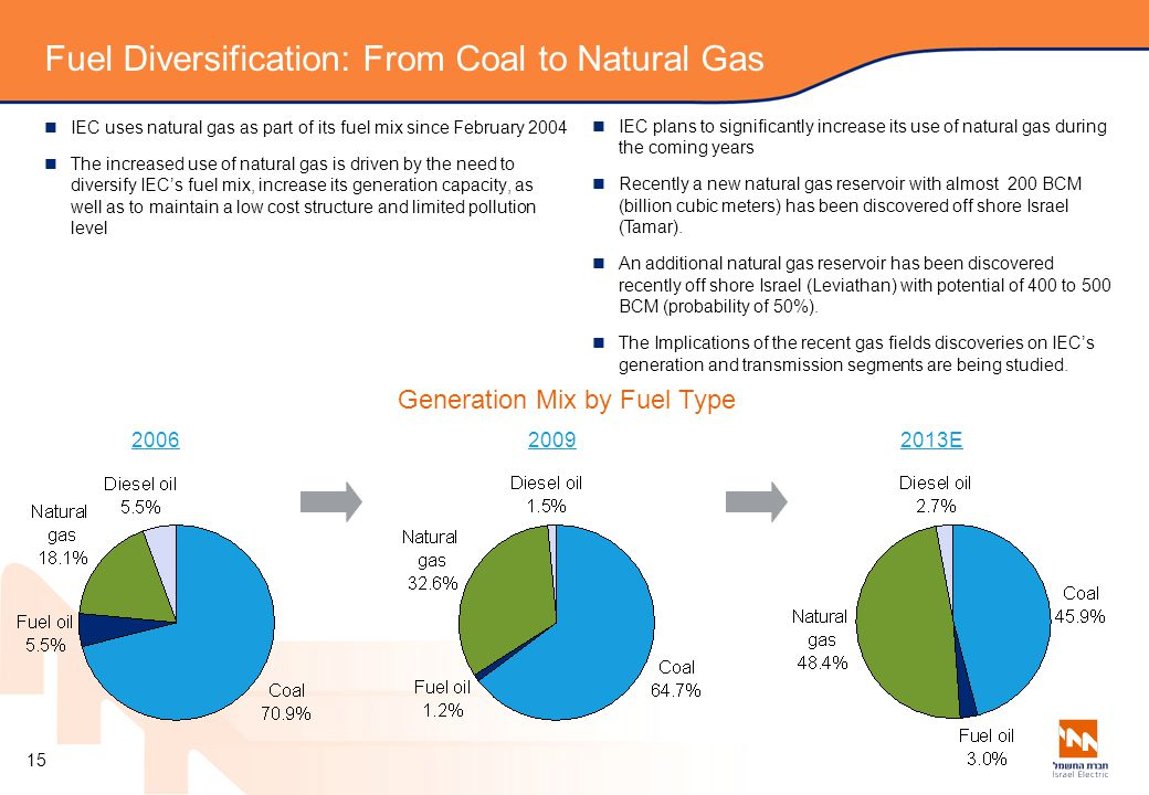 Fuel Diversification: From Coal to Natural Gas IEC uses natural gas as part of its fuel mix since February 2004 The increased use of natural gas is driven by the need to diversify IEC's fuel mix, increase its generation capacity, as well as to maintain a low cost structure and limited pollution level Generation Mix by Fuel Type 20092013E IEC plans to significantly increase its use of natural gas during the coming years Recently a new natural gas reservoir with almost 200 BCM (billion cubic meters) has been discovered off shore Israel (Tamar).