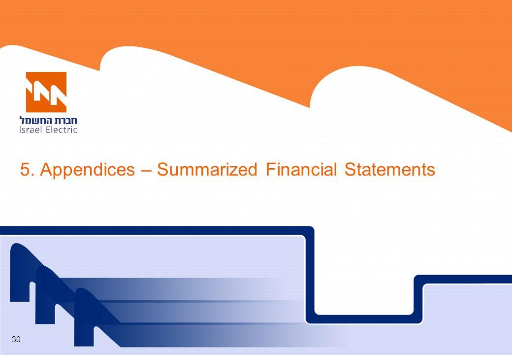 30 5. Appendices – Summarized Financial Statements
