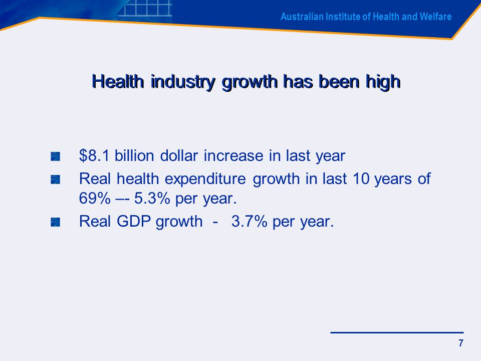 Australian Institute of Health and Welfare 38 Ratio of benefits paid by private health insurance to total recurrent health expenditure, 1984-85 to 2004-05 Per cent