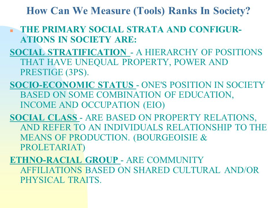 What Is The Result Of Ranking In Canadian Society.