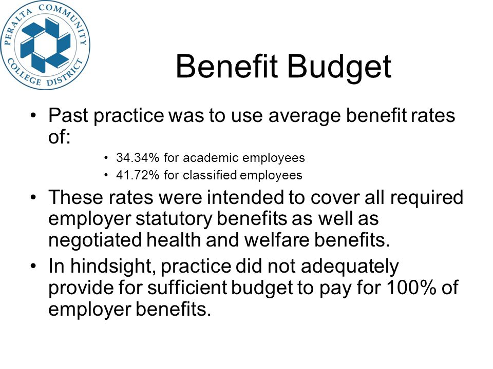 Benefit Budget Past practice was to use average benefit rates of: 34.34% for academic employees 41.72% for classified employees These rates were intended to cover all required employer statutory benefits as well as negotiated health and welfare benefits.