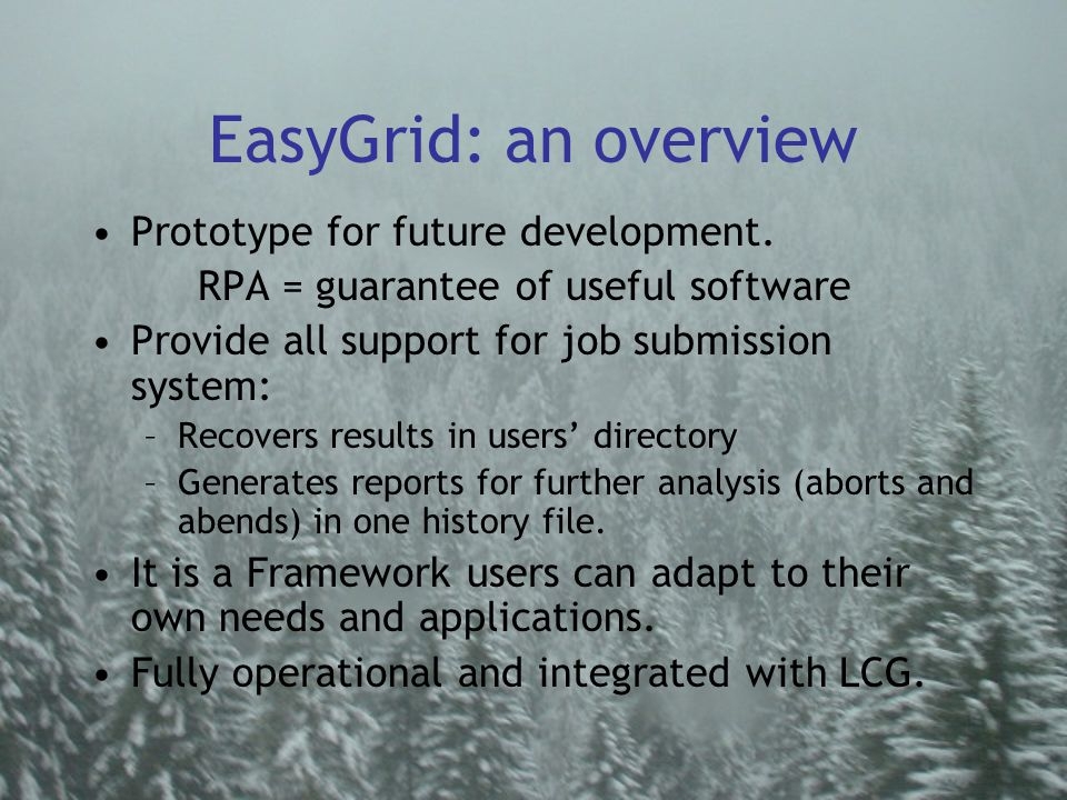 EasyGrid: an overview Prototype for future development.