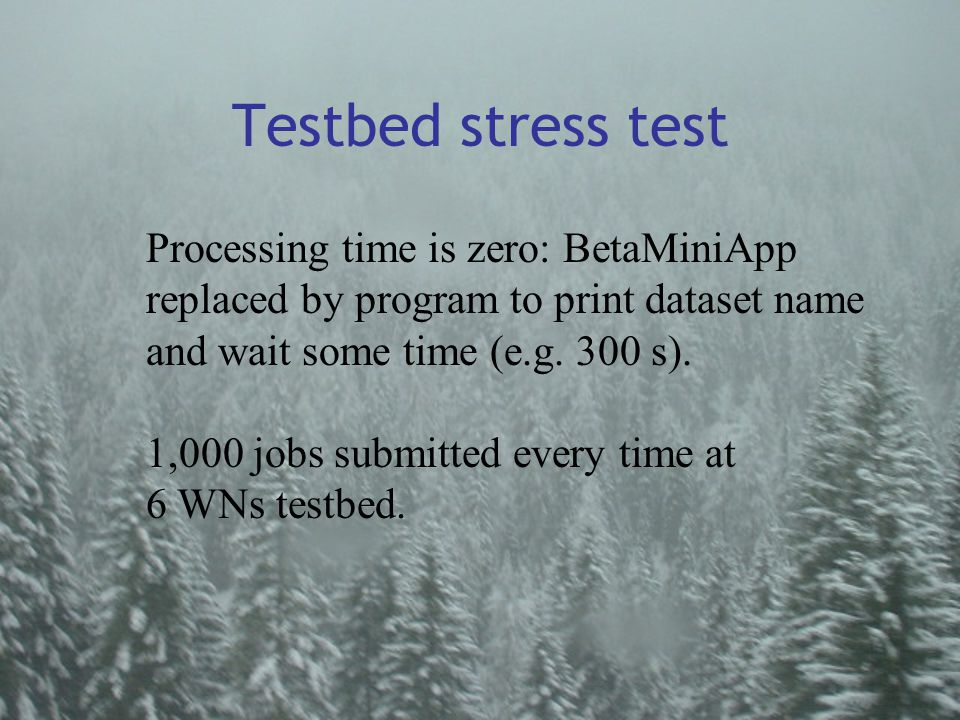 Testbed stress test Processing time is zero: BetaMiniApp replaced by program to print dataset name and wait some time (e.g.