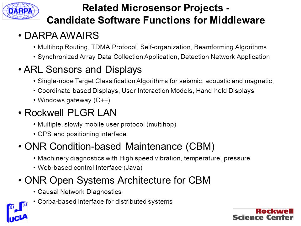 Sensor Node Signal Processing Architecture Continuous sample, HW filter, threshold compare Process single sensor Fuse multiple on-module sensors Query/corroborate with neighbors Fuse features with neighbors Beamformation cooperative Increasing Quality (decreasing false alarm rate, increasing detection rate) Higher Power Expended Alarms may be reported and awaken next layer autonomous
