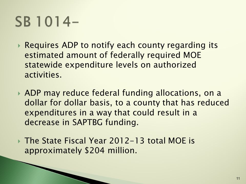 11  Requires ADP to notify each county regarding its estimated amount of federally required MOE statewide expenditure levels on authorized activities.