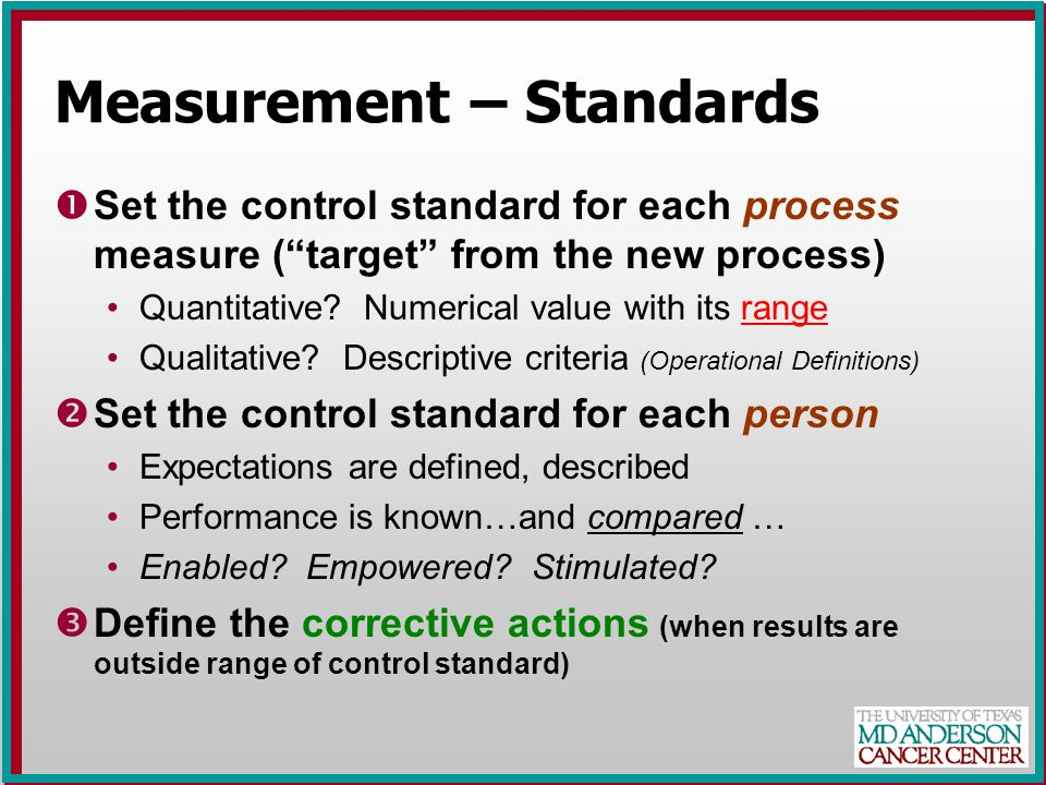 Measurement – Standards ŒSet the control standard for each process measure ( target from the new process) Quantitative.