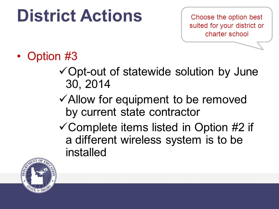 Choose the option best suited for your district or charter school District Actions Option #3 Opt-out of statewide solution by June 30, 2014 Allow for equipment to be removed by current state contractor Complete items listed in Option #2 if a different wireless system is to be installed