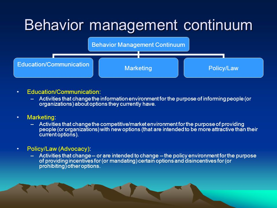 Behavior management continuum Education/Communication: –Activities that change the information environment for the purpose of informing people (or organizations) about options they currently have.