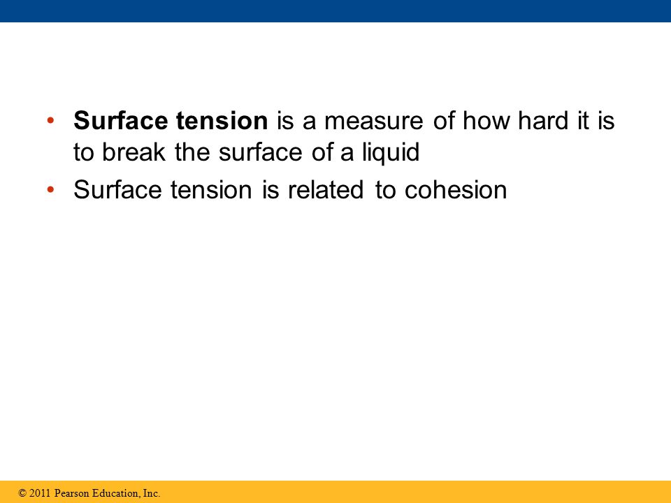 Surface tension is a measure of how hard it is to break the surface of a liquid Surface tension is related to cohesion © 2011 Pearson Education, Inc.