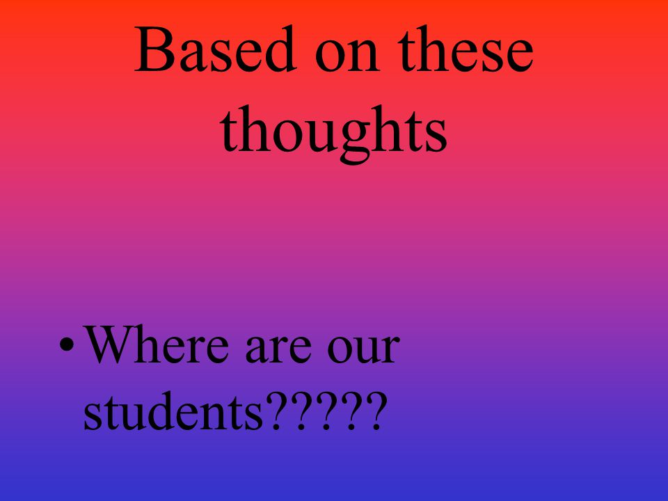 Based on these thoughts Where are our students