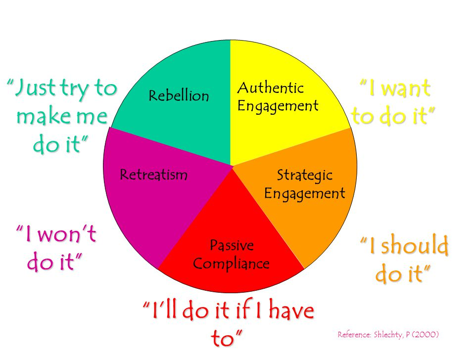 Levels of engagement Rebellion I want to do it I should do it I'll do it if I have to I won't do it Just try to make me do it Rebellion Authentic Engagement Strategic Engagement Passive Compliance Retreatism Reference: Shlechty, P (2000)