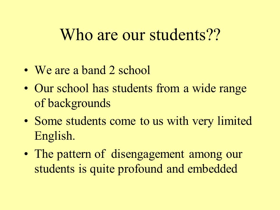 Who are our students?.