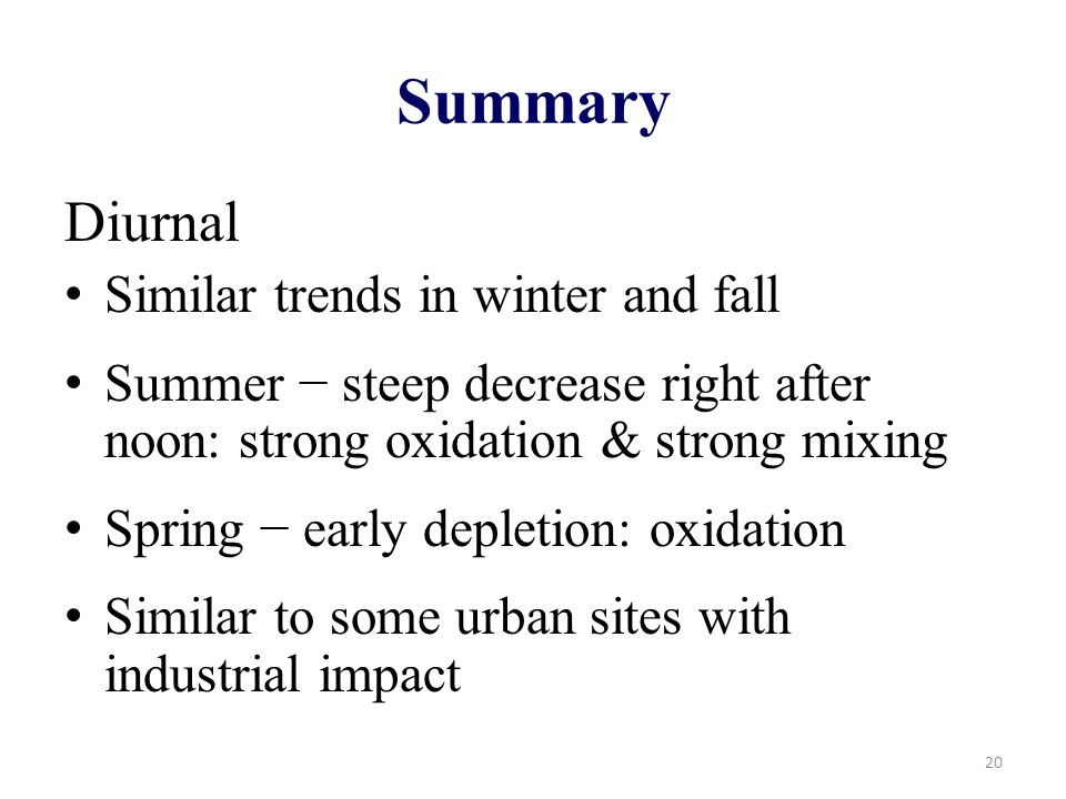 Summary Diurnal Similar trends in winter and fall Summer − steep decrease right after noon: strong oxidation & strong mixing Spring − early depletion: oxidation Similar to some urban sites with industrial impact 20