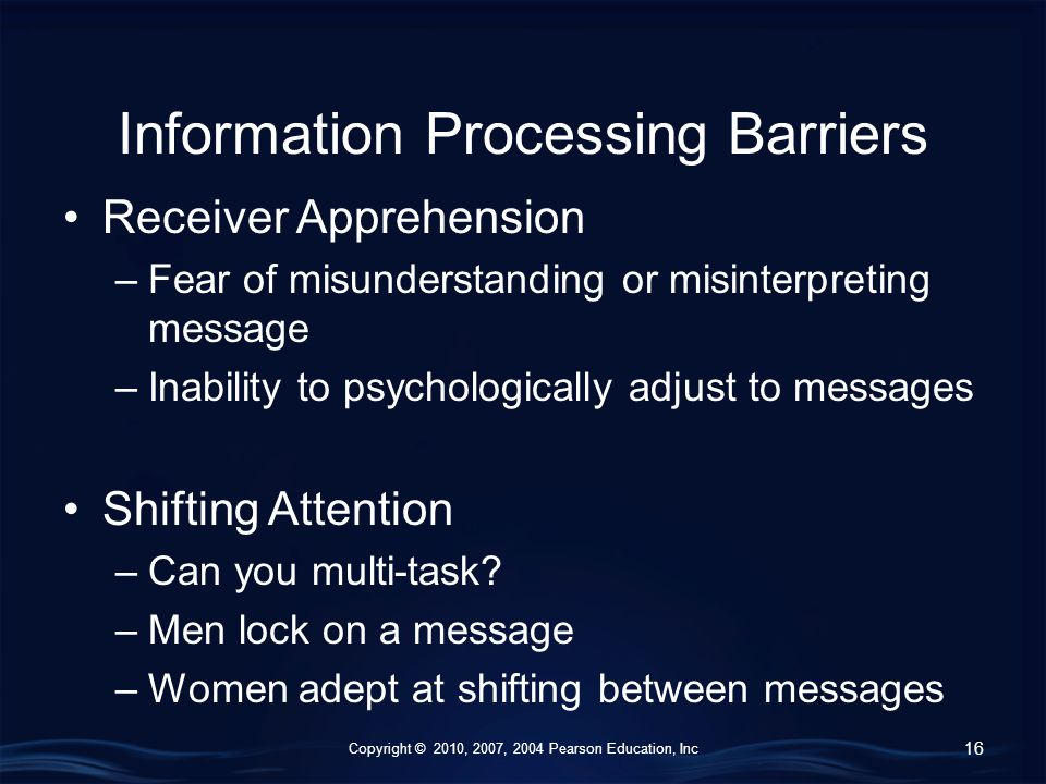 Copyright © 2010, 2007, 2004 Pearson Education, Inc Information Processing Barriers Receiver Apprehension –Fear of misunderstanding or misinterpreting message –Inability to psychologically adjust to messages Shifting Attention –Can you multi-task.