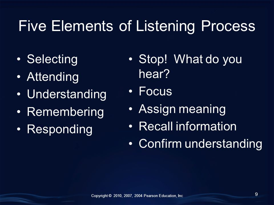 Copyright © 2010, 2007, 2004 Pearson Education, Inc Five Elements of Listening Process Selecting Attending Understanding Remembering Responding 9 Stop.