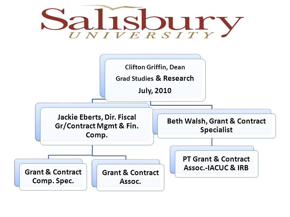 Clifton Griffin, Dean Grad Studies & Research July, 2010 Jackie Eberts, Dir.