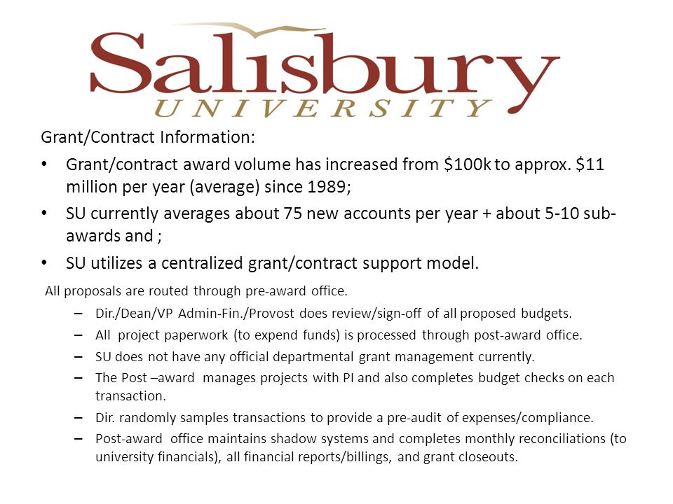 Grant/Contract Information: Grant/contract award volume has increased from $100k to approx.