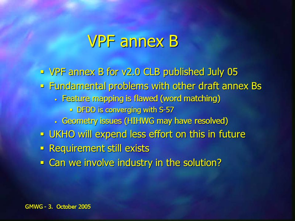 GMWG - 3. October 2005 VPF annex B  VPF annex B for v2.0 CLB published July 05  Fundamental problems with other draft annex Bs  Feature mapping is