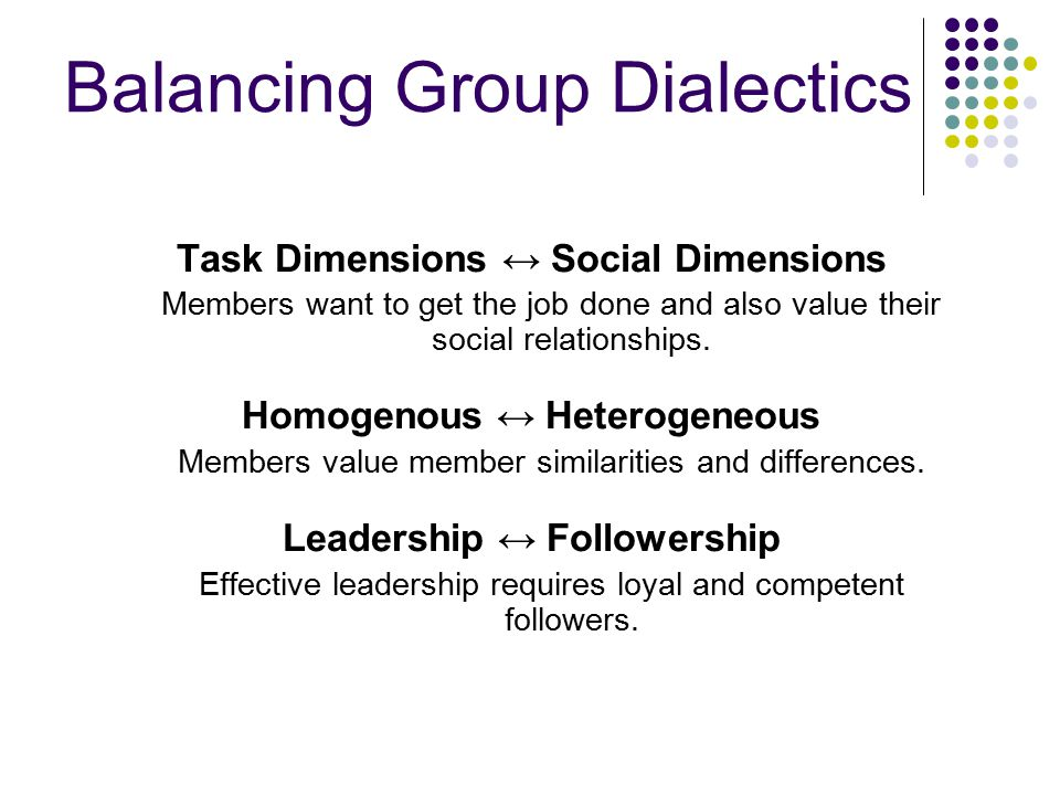 Balancing Group Dialectics Task Dimensions ↔ Social Dimensions Members want to get the job done and also value their social relationships.