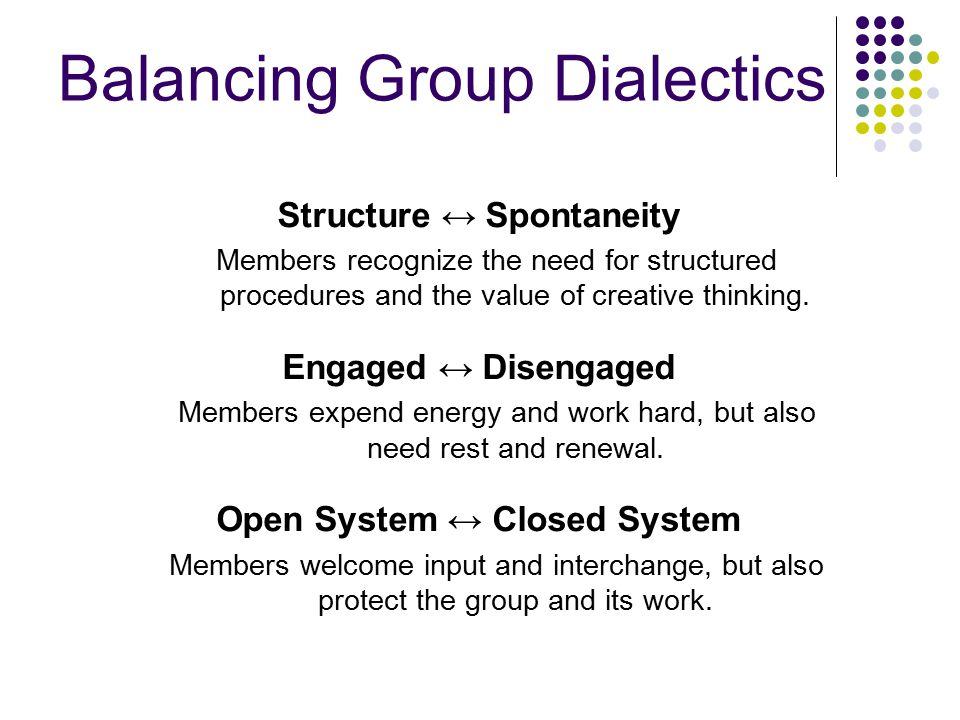 Balancing Group Dialectics Structure ↔ Spontaneity Members recognize the need for structured procedures and the value of creative thinking.
