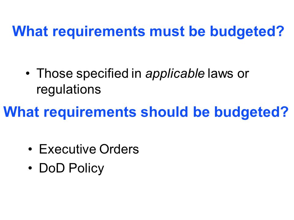 What requirements must be budgeted.