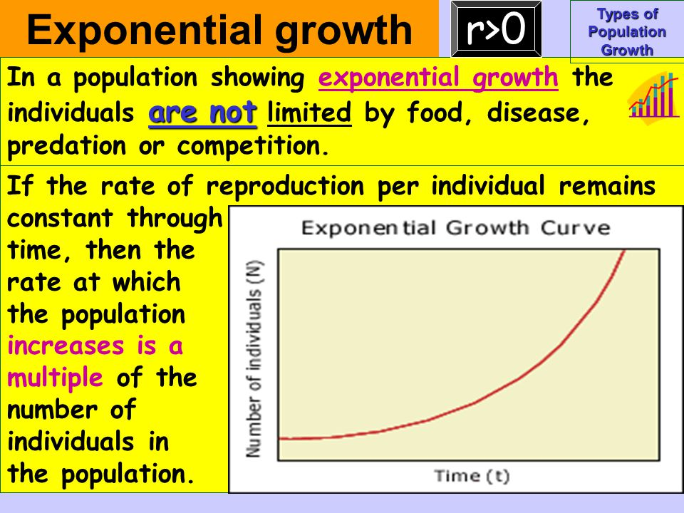 If the rate of reproduction per individual remains constant through time, then the rate at which the population increases is a multiple of the number